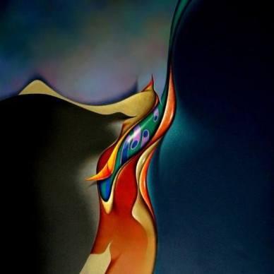 """FISHBIRD"" 30 x 30 inches, acrylic on canvas."